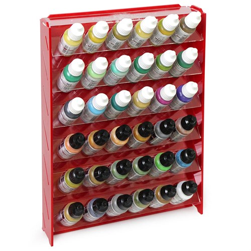 Подставка пластиковая красная для красок 36 баночек Mk-1 (Vallejo) - фото 120326