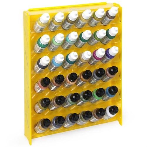 Подставка пластиковая жёлтая для красок 36 баночек Mk-1 (Vallejo) - фото 120357