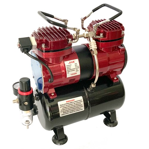 Компрессор JAS 1226, с регулятором давления, автоматика, два режима работы, ресивер, два цилиндра - фото 120810