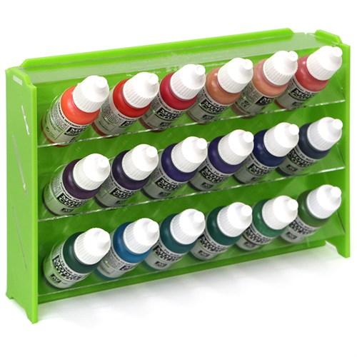 Подставка пластиковая зелёная для красок 18 баночек Mk-1 (Vallejo) - фото 120909
