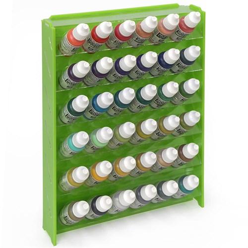 Подставка пластиковая зелёная для красок 36 баночек Mk-1 (Vallejo) - фото 120935