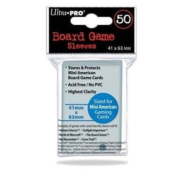 Протекторы для настольных игр Ultra-Pro (размер 41х63 мм, 50 шт.): Прозрачные - фото 20258