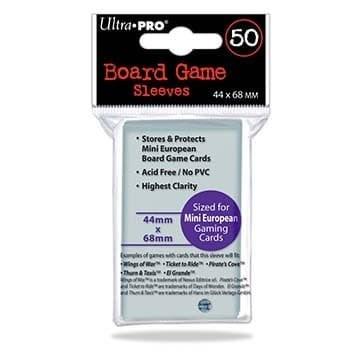 Протекторы для настольных игр Ultra-Pro (размер 44х68 мм, 50 шт.): прозрачные - фото 20259