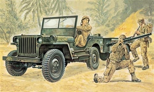 Автомобиль  Willys MB Jeep with Trailer (1:35) - фото 21232
