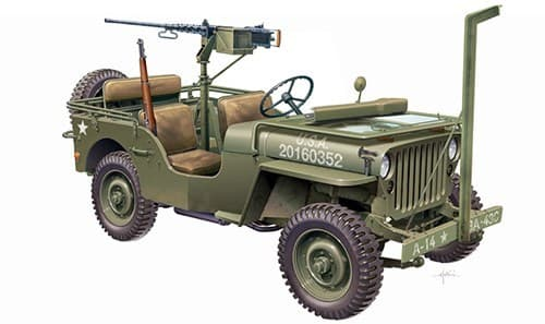 Автомобиль  WILLYS JEEP WITH M2 MACHINE GUN (1:35) - фото 21332