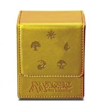 """Кожаная коробочка """"Ultra-Pro"""" (магическая, на 100 карт в протекторах): рисунок """"Символы Маны"""": золотая - фото 23180"""