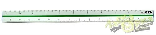 Jas 4701 Линейка трехгранная, 6-ть масштабов, алюминиевая, 30 см