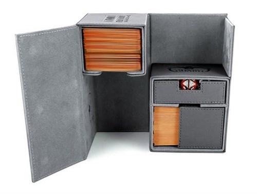 Ultimate Guard - Коробочка двойная кожаная серая премиум с отделением для кубиков UGD010232 010232