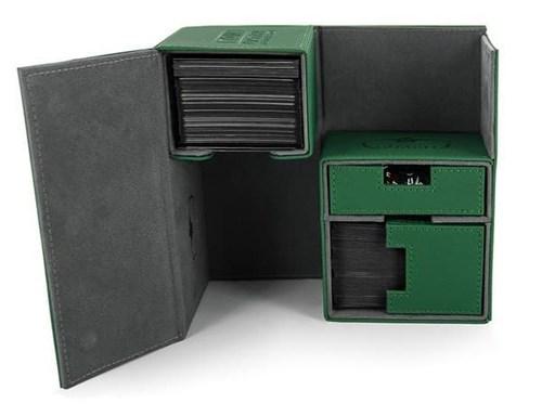 Ultimate Guard - Коробочка двойная кожаная зеленая премиум с отделением для кубиков UGD010231 010231