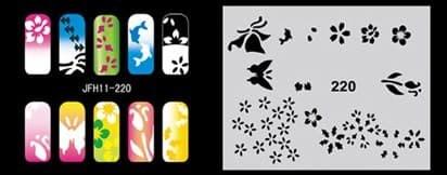 Трафарет для росписи ногтей аэрографом JFH11-220 - фото 27710