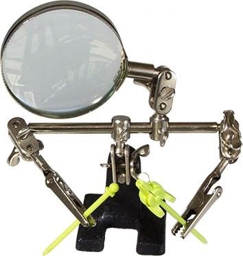 Подставка-держатель с увеличительным стеклом, 2 зажима - фото 29040