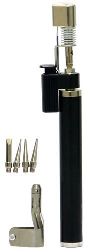 """Горелка газовая, тип """"Карандаш"""" c пьезоподжигом + 4 насадки для пайки, 200 мм// SPARTA - фото 30735"""