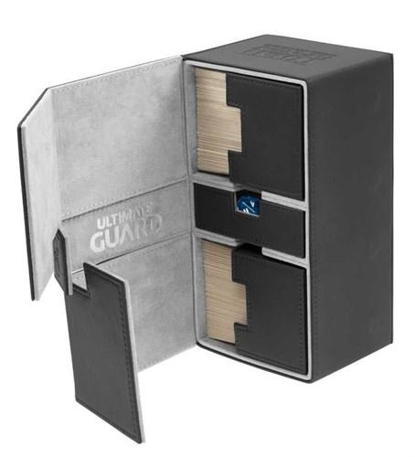 Коробочка двойная кожаная черная с отделением для кубиков на 200 карт (NEW) - фото 30845