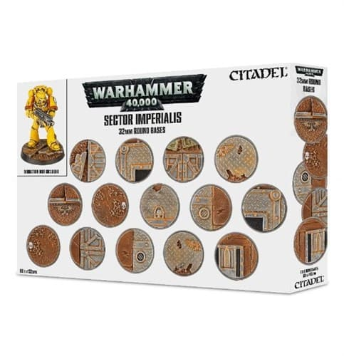 Designed to match and complement the Realm of Battle: Sector Imperialis gameboard, these highly detailed plastic bases are ideal for the infantry in your Warhammer 40,000 collection. You'll receive 60 32mm Round bases – these moulded bases will help you theme your armies to match the Sector Imperialis!