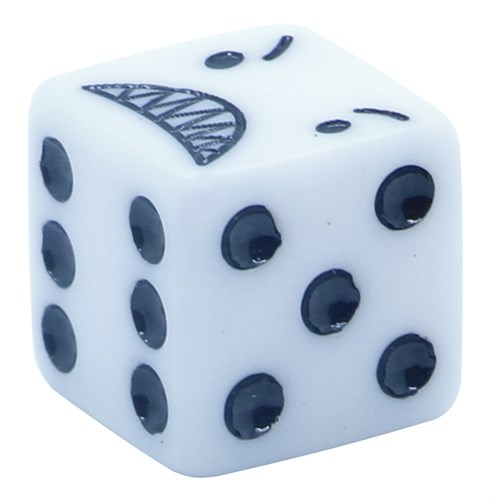 Кубик D6 «Гнев» белый 16мм - фото 32233