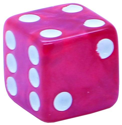 Кубик D6 «Перламутр» красный 16мм - фото 32234
