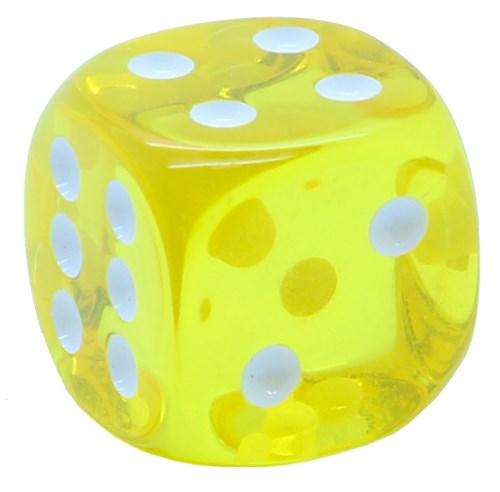 Кубик D6 «Кристалл» желтый 16мм - фото 32249