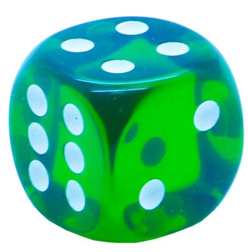 Кубик D6 «Кристалл» зеленый 14мм - фото 32252