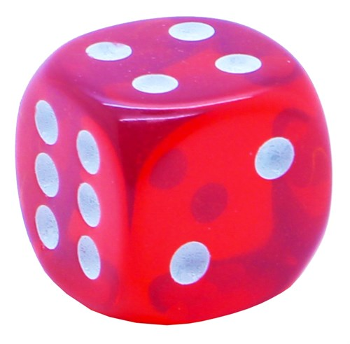 Кубик D6 «Кристалл» красный 14мм - фото 32253