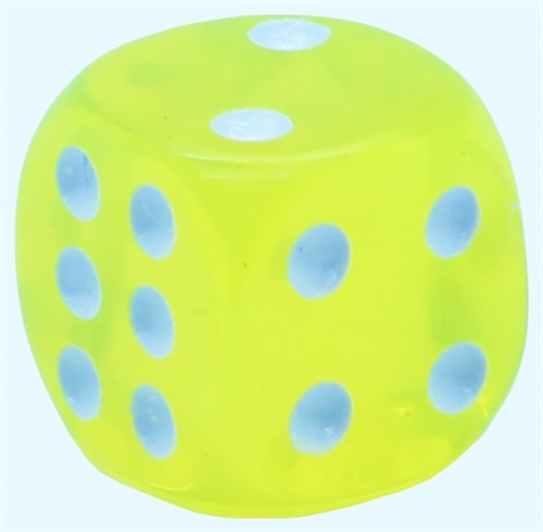 Кубик D6 «Кристалл» желтый 14мм - фото 32254