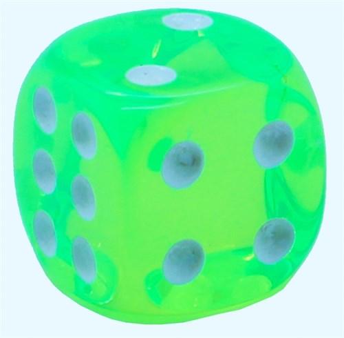 Кубик D6 «Кристалл» зеленый 14мм - фото 32255
