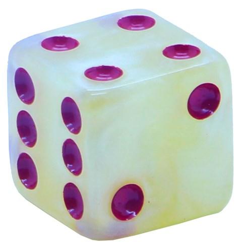 Кубик D6 «Перламутр» мрамор 16мм - фото 32258
