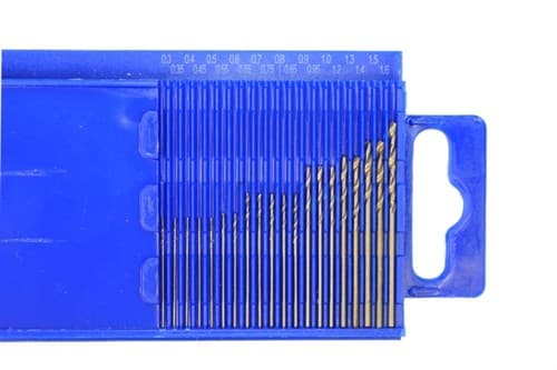Мини-сверла, диаметр 0,3 - 1,6 мм, набор, 20 шт., HSS М35, нитрид-титановое покрытие - фото 35021