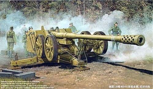 Немецкая 128мм противотанковая пушка PAK44 (Рейн) (1:35) - фото 36263