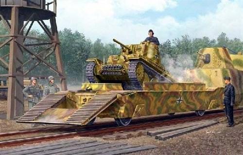 Немецкая ЖД платформа с танком Pz.Kpfw.38(t) (1:35) - фото 36336