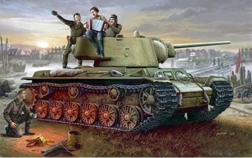 Танк  КВ-1 модель 1942 г. c легкой башней (1:35) - фото 36379