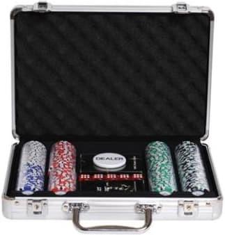 Покерный набор на 200 фишек с номиналом в металлическом кейсе за