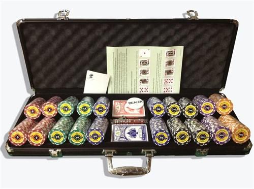 """""""Crown 500"""",  Профессиональный набор для игры в покер.  500фишек по 14 грамм. 2 колоды карт  с пластиковым покрытием. - фото 39356"""