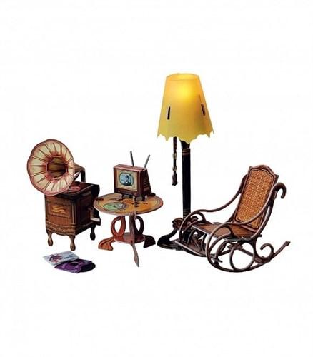 """Коллекционный набор мебели """"Торшер и обстановка"""". Объемный пазл. Материал: картон. - фото 55885"""