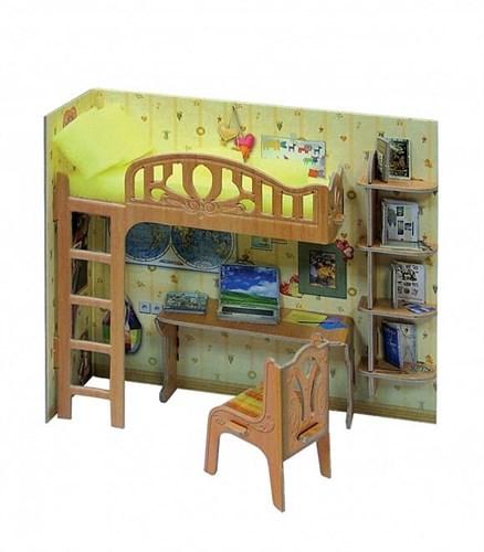 """Коллекционный набор мебели """"Уголок школьника"""". Объемный пазл. Материал: картон. - фото 55888"""