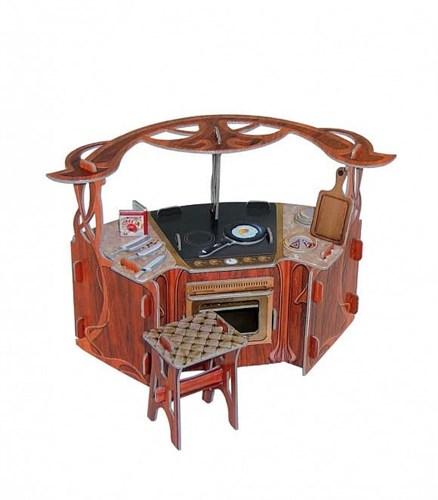 """Коллекционный набор мебели """"Кухня"""". Объемный пазл. Материал: картон. - фото 55894"""