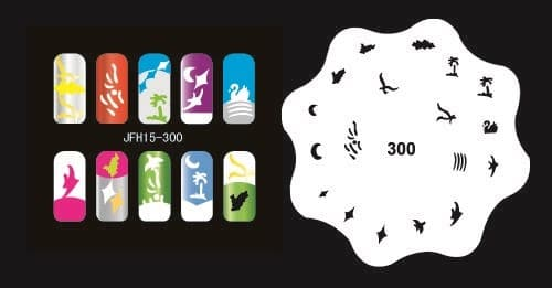 Трафарет для росписи ногтей аэрографом JFH15-300 - фото 56403