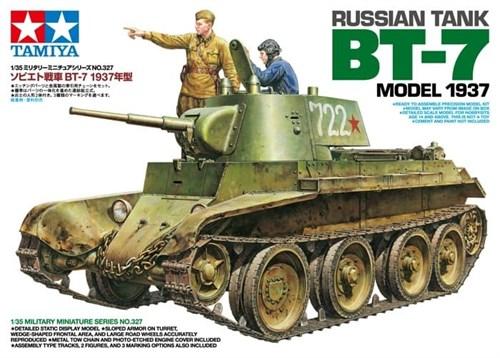 Советский танк БТ-7 (выпуск 1937 г), c фигурами командира танка и офицера, фототравление, наборные траки, 3 вар-та декалей - фото 60969