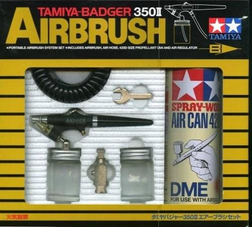 Tamiya-Badger 350 II Airbrush Set (аэрограф с баллоном сжат. воздуха 350мл.и переходником) - фото 63646