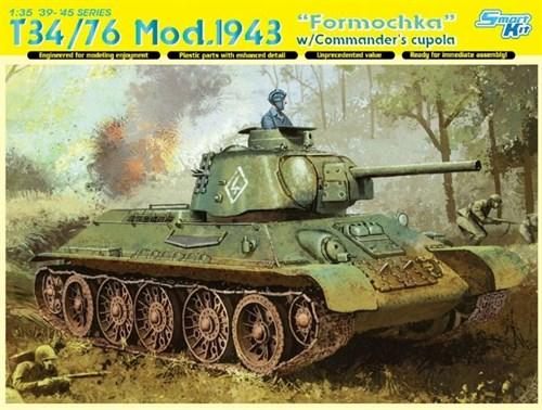 """Танк  T-34/76 Mod.1943 """"Formochka"""" w/CommanderDrags cupola  (1:35) - фото 65033"""