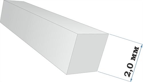 Пластиковый профиль квадрат 2,0*2,0 длина 250 мм - фото 65231