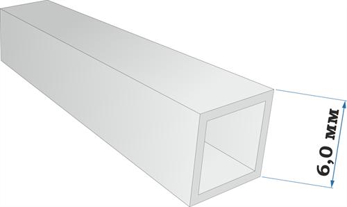 Пластиковый профиль квадратная трубка 6*6 длина 250 мм - фото 65235