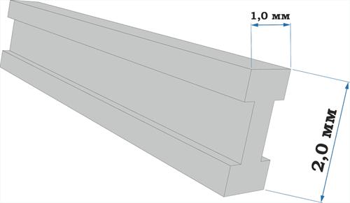Пластиковый профиль двутавр 1*2 длина 250 мм - фото 65238