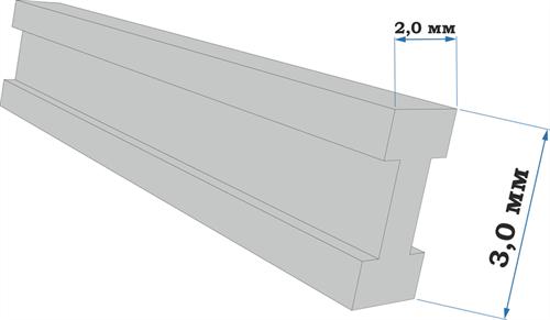 Пластиковый профиль двутавр 2*3 длина 250 мм - фото 65240