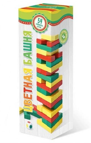 Башня, цветная с кубиком (на русском) - фото 72673