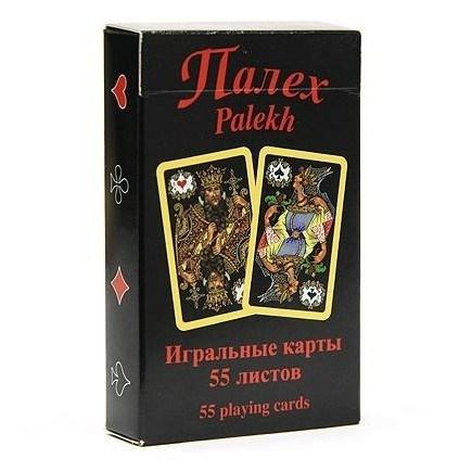 """Игральные карты """"Палех"""", 55 листов (черные) - фото 84086"""