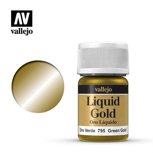 216.Краска металлическая лаковая Vallejio/Золото зеленое - фото 89884