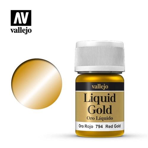 215.Краска металлическая лаковая Vallejio/Золото красное - фото 89888