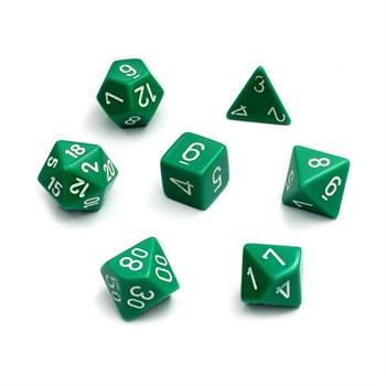 Набор кубиков d4, d6, d8, d10, d12, d20, d100: зелёные (7 шт, 16 мм)