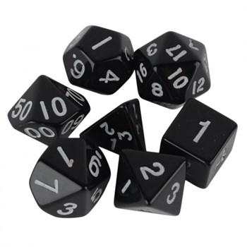 Набор кубиков d4, d6, d8, d10, d12, d20, d100: чёрные (7 шт, 16 мм)