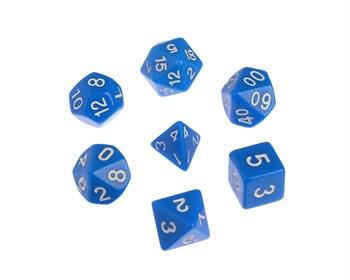 Набор кубиков d4, d6, d8, d10, d12, d20, d100: синие (7 шт, 16 мм)